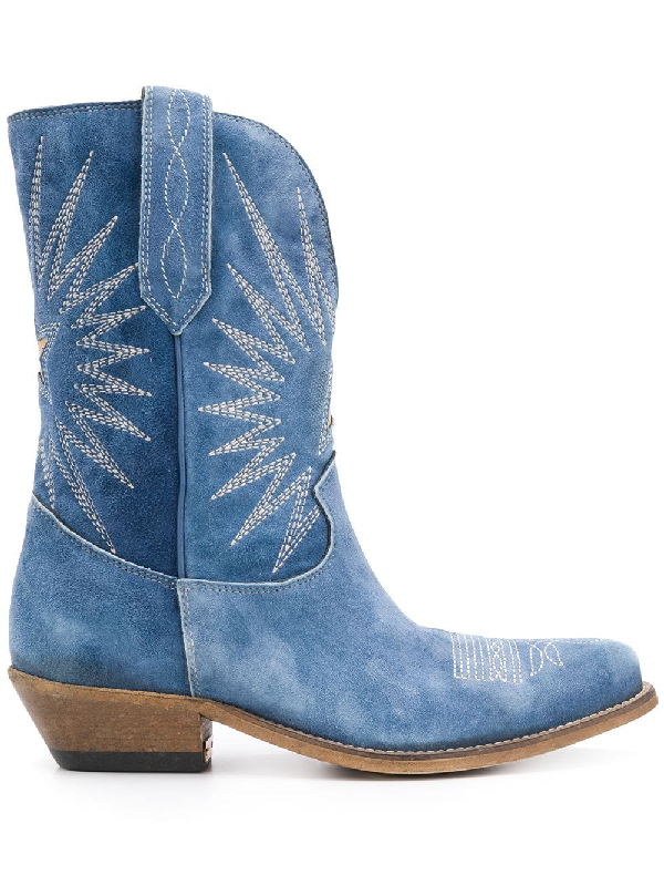 Golden Goose Wish Star Cowboy Boot In Blue