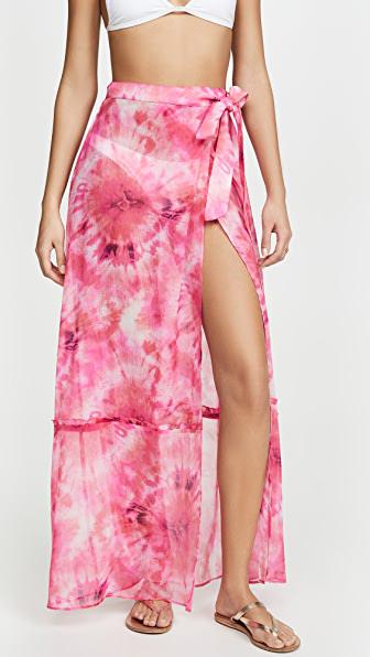 Playa Lucila Tie Dye Wrap Skirt In Pink Print