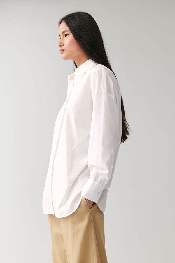 Cos Round Cut Cotton Shirt In White