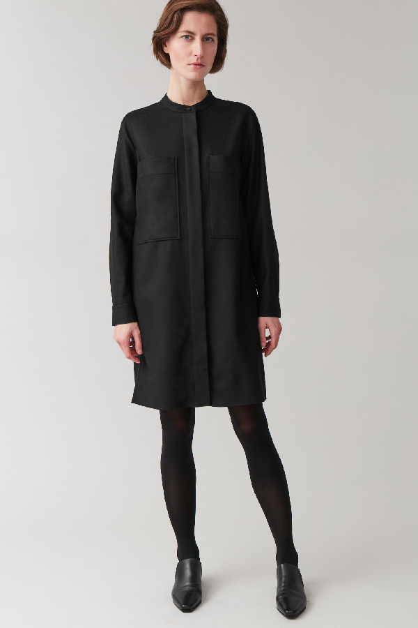 Cos Wool-mix Shirt Dress With Pockets In Black
