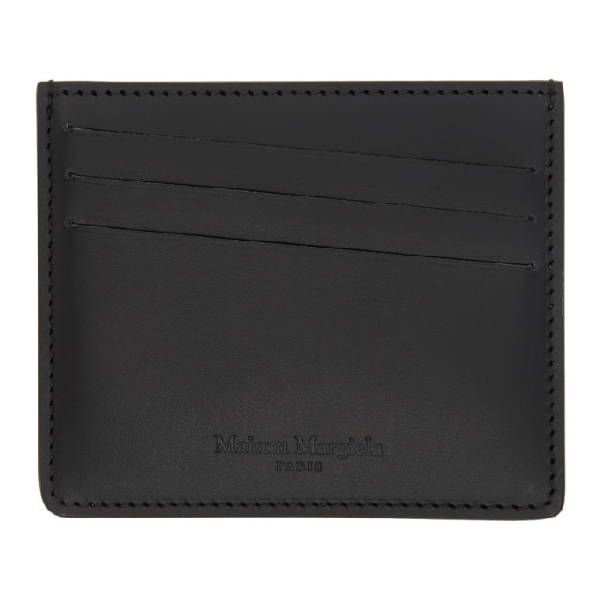 Maison Margiela Perforated Logo Leather Card Holder In T8013 Black