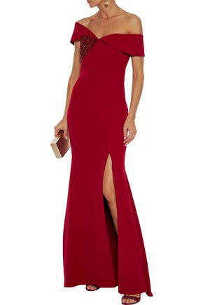 Badgley Mischka Off-the-shoulder Embellished Stretch-crepe Gown In Crimson