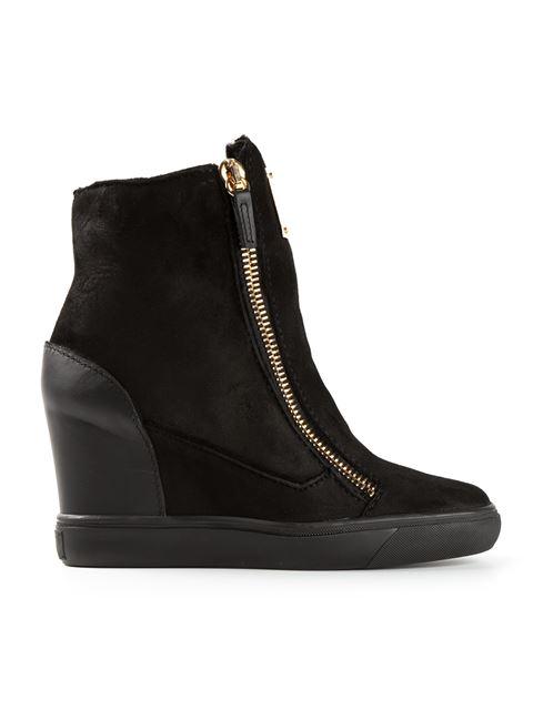 Giuseppe Zanotti Suede Fold-Down Wedge Sneaker In Black
