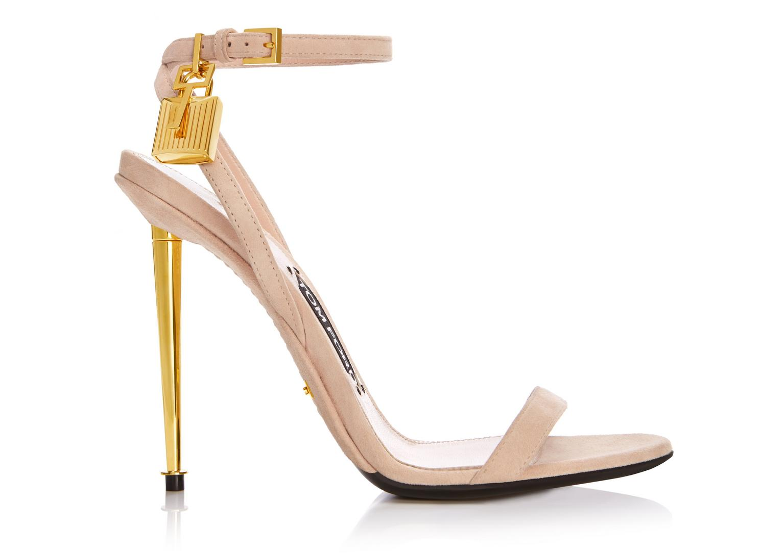 Tom Ford Lock Ankle-Wrap Suede 110Mm Sandal, Nude