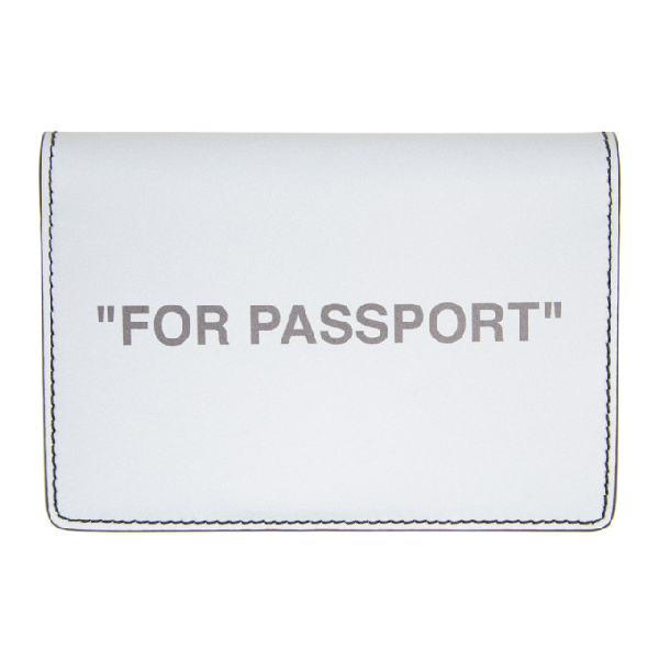 Off-white Reflective Passport Holder In Silver In Silver Blac