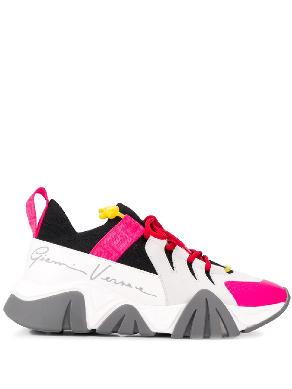 Versace Squalo Leather & Stretch Knit Sneakers In White
