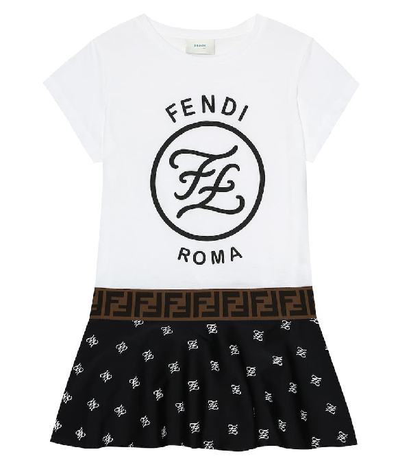 Fendi Kids Printed T-shirt Model Dress In White