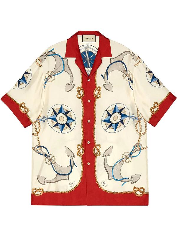 Gucci Compass And Anchor-print Silk-satin Shirt In Neutrals