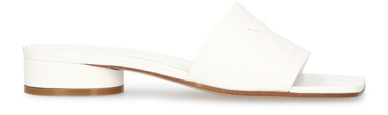 Maison Margiela Embroidered Leather Sandals In White