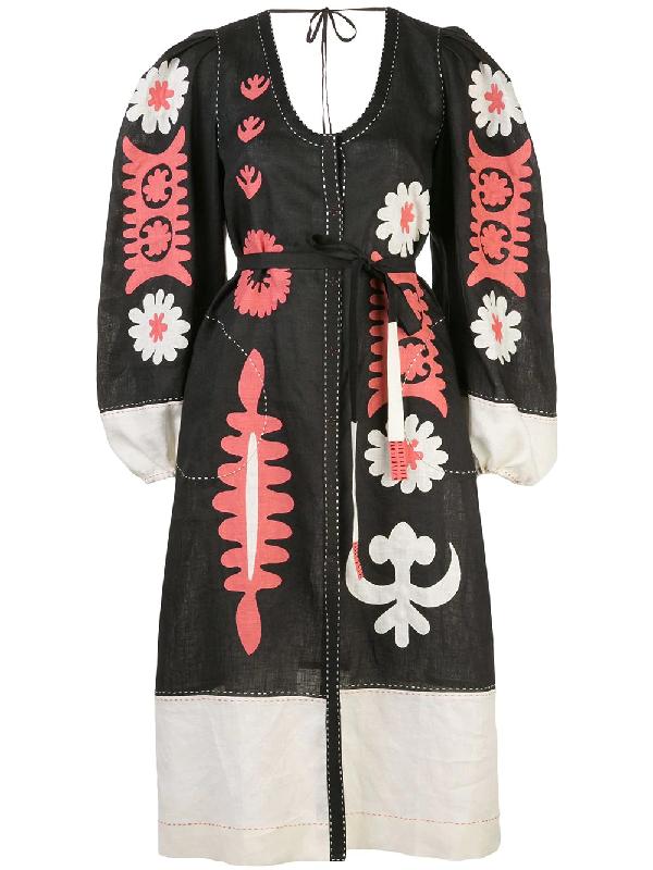 Vita Kin Multicolor Muscat Linen Midi Dress In Black