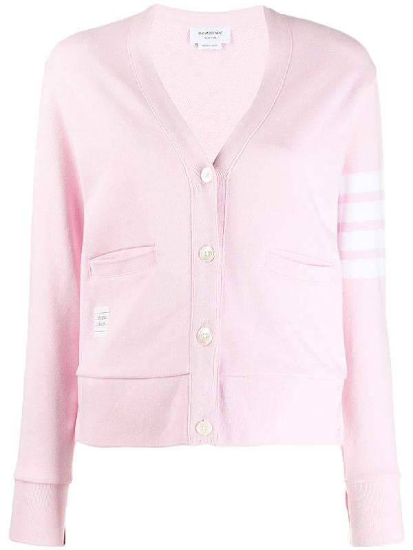 Thom Browne 4-bar Stripe Cardigan In Pink