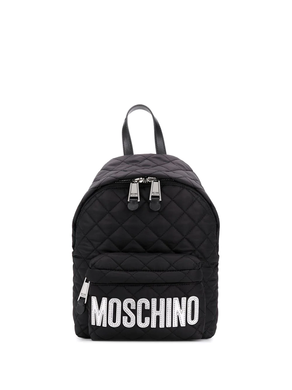 Moschino Logo-print Quilted Backpack In Black