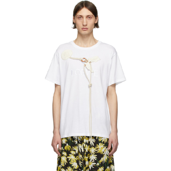 Loewe Logo Embroidered Cotton Jersey T-shirt In 2100 White