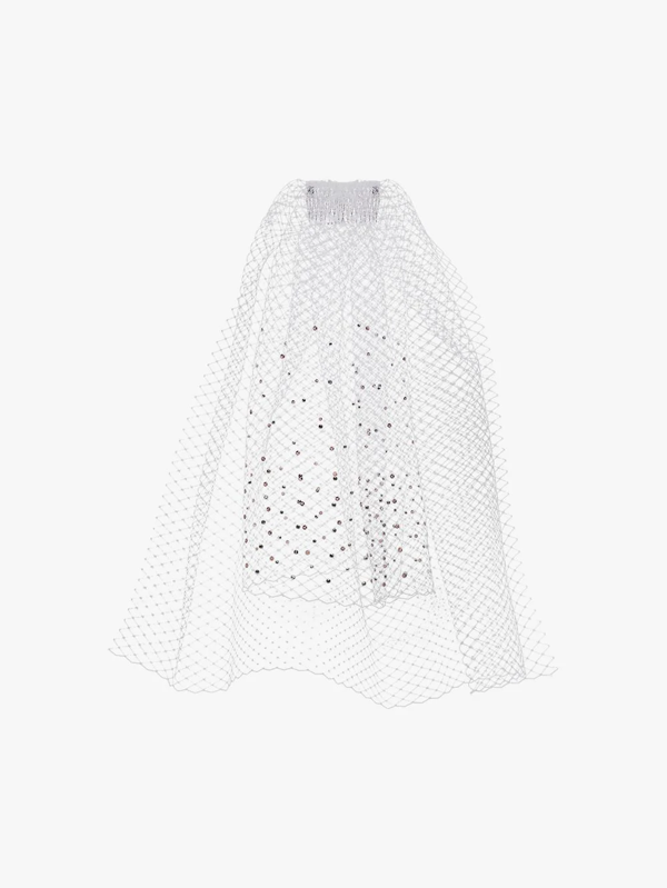 Gigi Burris Millinery White Long Crystal Embellished Veil Haircomb