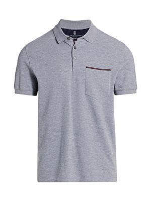 Brunello Cucinelli Men's Pique Patch Pocket Polo In Grey