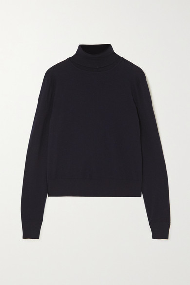 The Row Chanic Merino Wool And Cashmere-blend Turtleneck Sweater In Navy