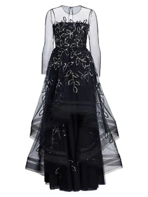 Ahluwalia Women's Cassandra Floral-sequin Tulle Gown In Midnight