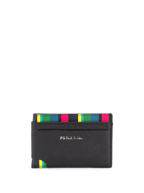 Ps By Paul Smith Striped Leather Card Holder In Black