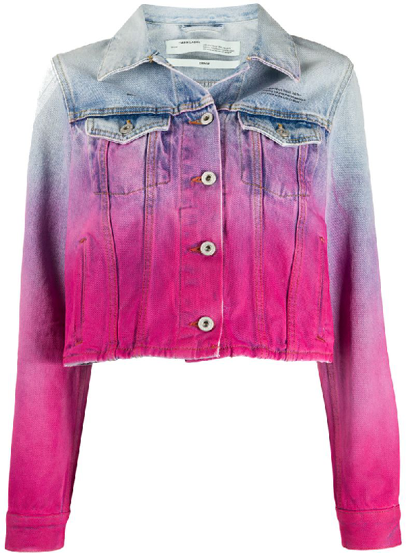 Off-white Fuchsia DÉgradÉ Cropped Denim Jacket In 蓝色