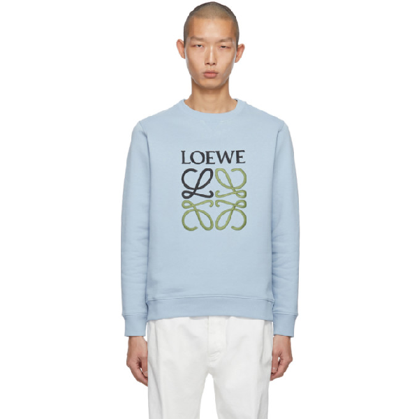 Loewe Logo-embroidered Loopback Cotton-jersey Sweatshirt In 1120.grey