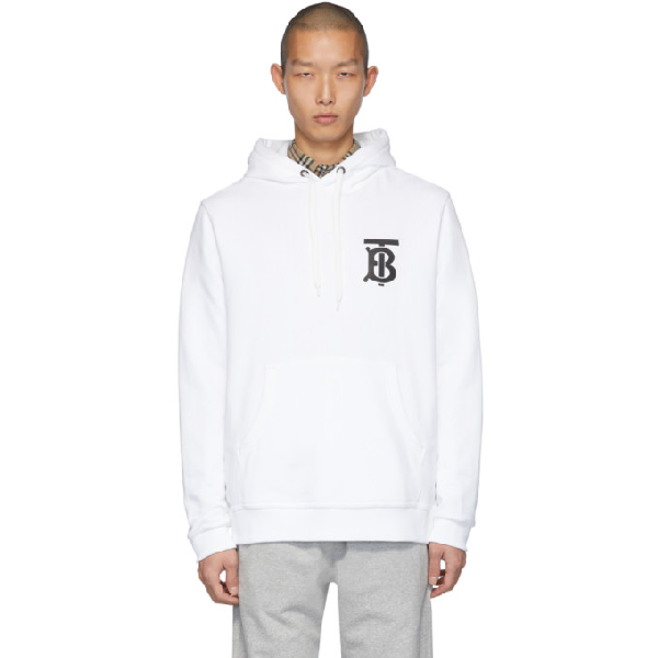 Burberry Logo-appliquÉd Loopback Cotton-jersey Hoodie In White