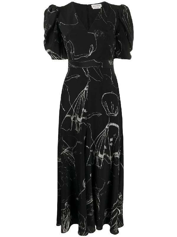 Alexander Mcqueen Dancing Girl Midi Dress In Black