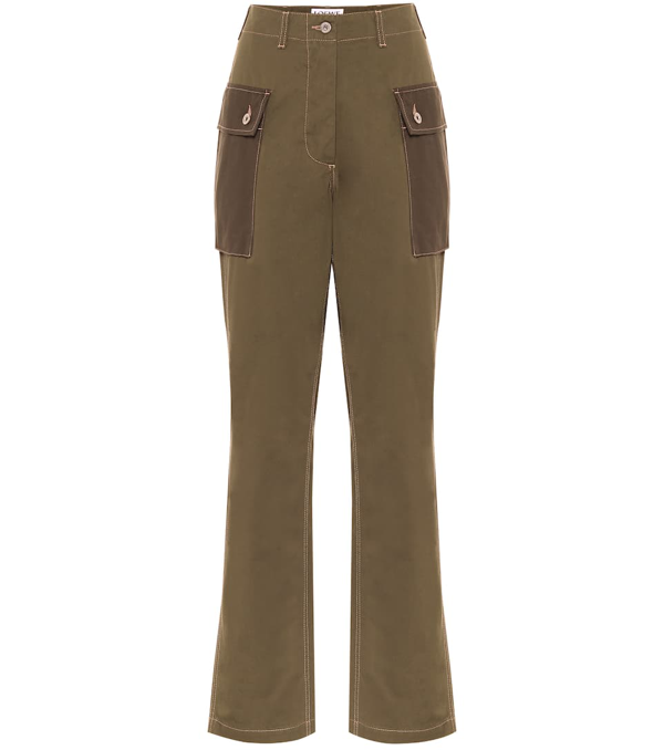 Loewe High-rise Two-tone Cotton-twill Trousers In Green