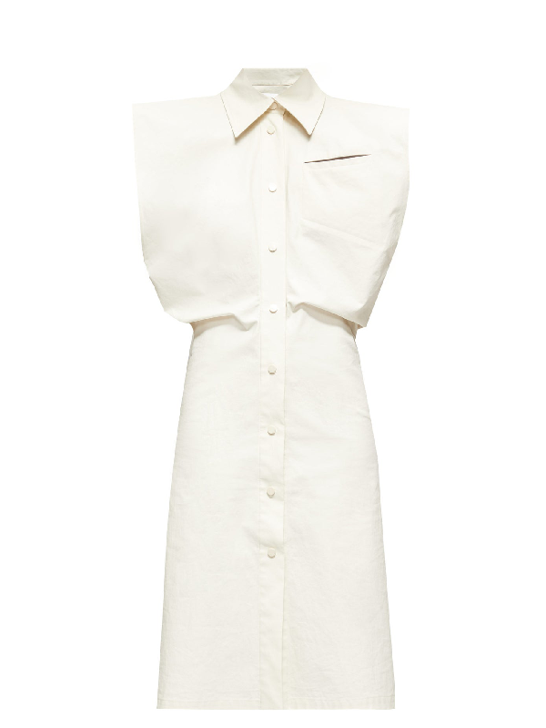 Bottega Veneta Cap Sleeve Coated Cotton Blend Shirtdress In White