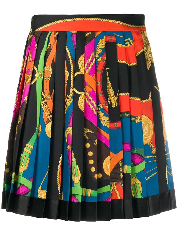 Versace Rodeo Night Silk Twill Pleated Silk Mini Skirt In Black