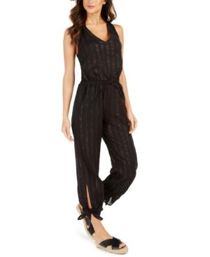 La Blanca Metallic-stripe Jumpsuit Cover-up Women's Swimsuit In Black