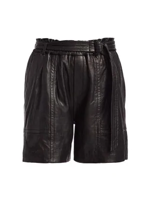 Munthe Women's Enzyme Leather Shorts In Black