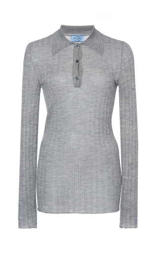 Prada Rib-knit Silk & Cashmere Collared Top In Neutral