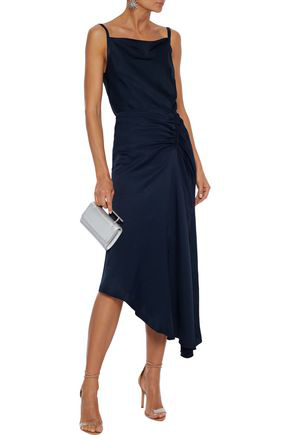Les HÉroÏnes By Vanessa Cocchiaro The J.k. Asymmetric Ruched Satin Skirt In Navy