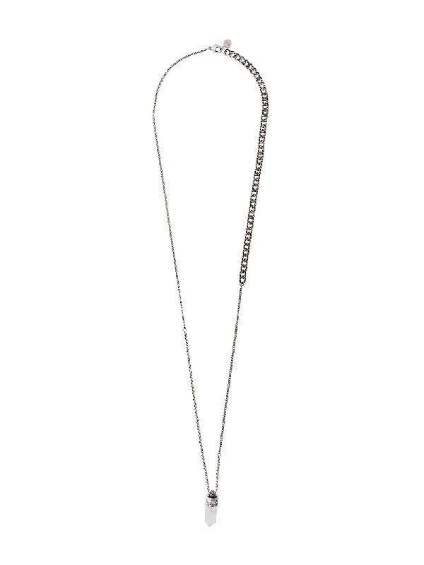 Alexander Mcqueen Black Stone Pendant Necklace In Silver
