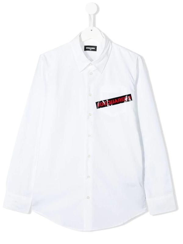 Dsquared2 Teen Logo Tape Shirt In White