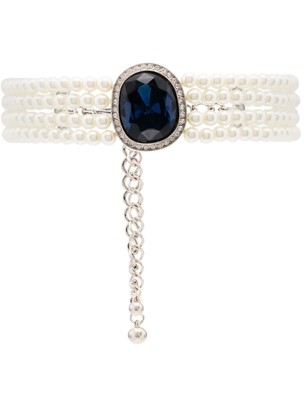 Kenneth Jay Lane Gold-tone Crystal And Pearl-embellished Choker Necklace In Blue