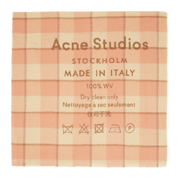Acne Studios Cassiar Logo-print Wool Scarf In Wheat/pink