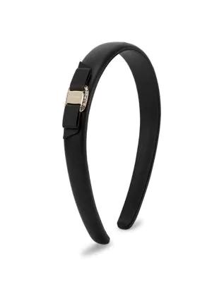 Salvatore Ferragamo Women's Vara Bow Black Leather Headband