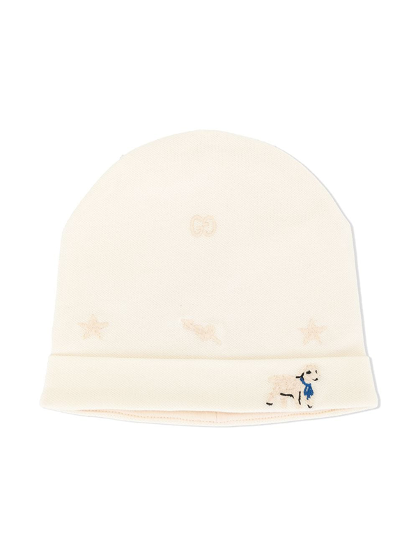 Gucci Babies' Knitted Lamb Beanie In White