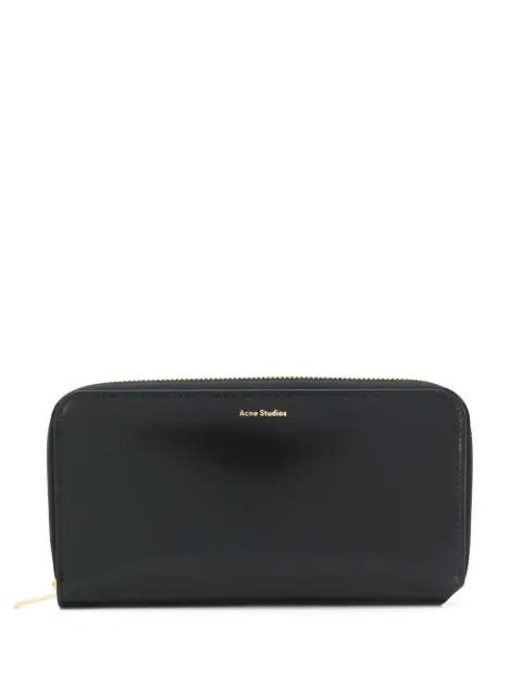 Acne Studios Fluorite S Ziparound Leather Wallet In Black