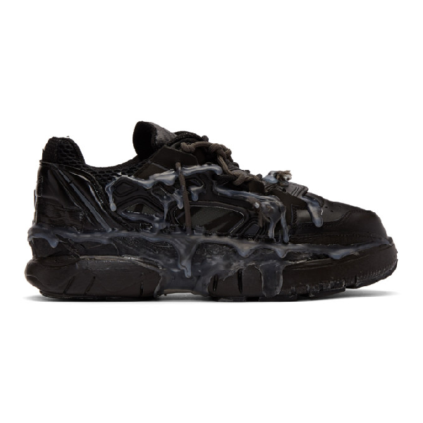 Maison Margiela Fusion Leather And Mesh Trainers In T8013 Black