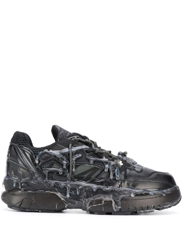 Maison Margiela Fusion Leather And Mesh Trainers In Black