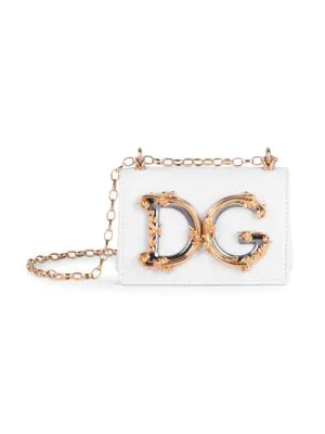 Dolce & Gabbana Micro D & G Girls Leather Shoulder Bag In White
