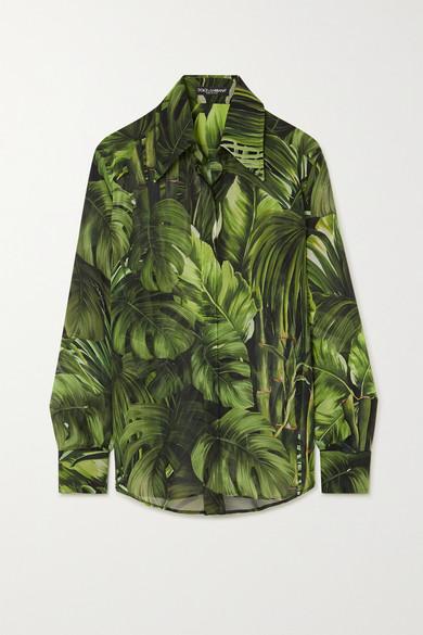 Dolce & Gabbana Tropical-leaf Print Georgette Blouse In Green