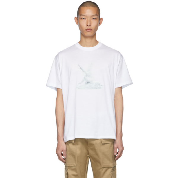 Burberry Cupid Print Cotton Oversized T-shirt In White