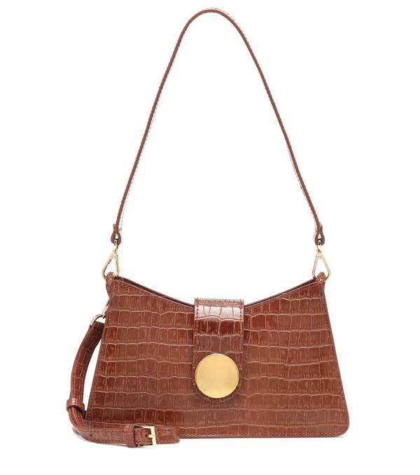 Elleme Baguette Croc Embossed Leather Bag In Brown