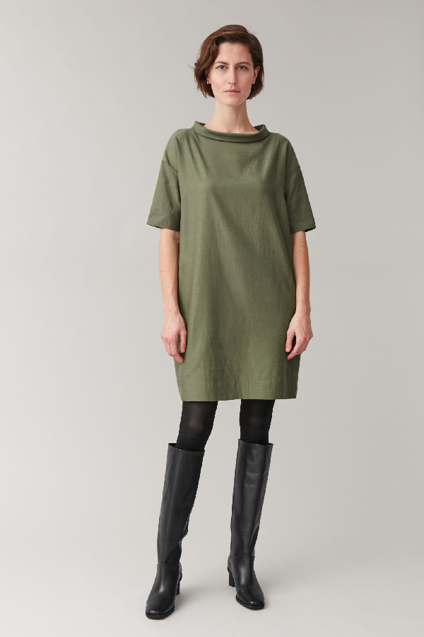 Cos Wide Stand-up Collar Dress In Green
