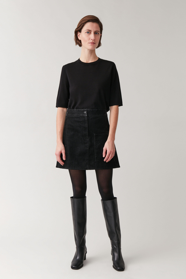 Cos Cotton Mini Skirt With Adjustable Waist In Black