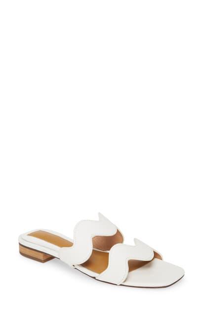 Jaggar Scallop Slide Sandal In Ivory