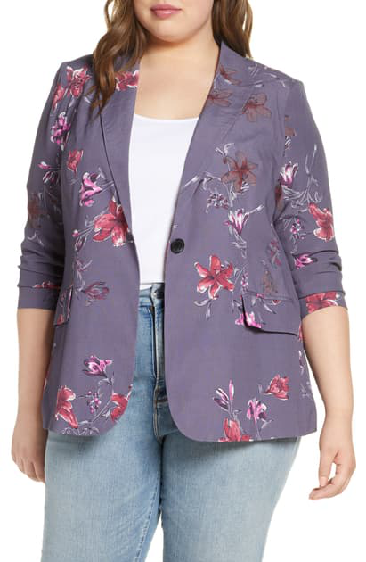 Daniel Rainn Plus Floral Blazer In G966 Shadow